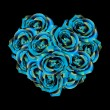Heart made of blue roses — Stock vektor
