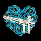 Heart made of blue roses with bow — Cтоковый вектор