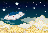 Cartoon style UFO - flying saucer in the cloudy sky — Stock Vector