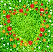 Cuore e fiori sul prato — Vettoriale Stock