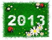 Mutlu yeni yıl 2013! otlar, çiçekler ve ladybugs — Stok Vektör