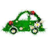 Car made of grass and flowers — Vector de stock