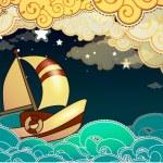 Cartoon stile ship sailing in the night — Stock Vector #16204001