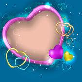 Cartão-postal com o modelo de design do coração — Vetor de Stock
