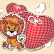 Little lion with hearts hearts — Stock Vector
