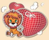 μικρό λιοντάρι με καρδιές καρδιές — Διανυσματικό Αρχείο