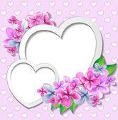 Hart met bloemen ontwerpsjabloon — Stockvector