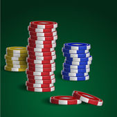 Casino chips stacks on green background — Stock Vector