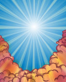 Sunburst rays and clouds — Stock Vector