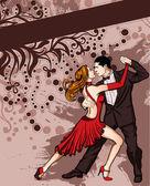 A couple dancing tango — Stock Vector