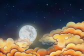 Night sky illustration. Moon and clouds — Stock Photo