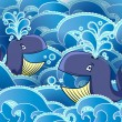 Two cartoon whales in the water — Stock Vector