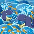Two cartoon whales in the water - 