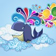 Cartoon style whale flying in the sky and bursting rainbow — Stock Vector #19971817