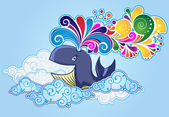 Cartoon style whale flying in the sky and bursting rainbow — Stock Vector