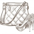 Women bag and shoes sketch - Stock Vector