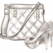 Women bag and shoes sketch - Stockvektor