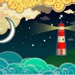 Cartoon style lighthouse — Stock Vector