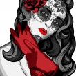Sugar skull lady with paint for Day of the Dead (Dia de los Muertos) - Stock vektor