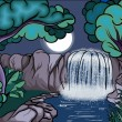 Royalty-Free Stock 矢量图片: Cartoon style waterfall in the forest at night