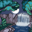 Cartoon style waterfall in the forest at night — Imagen vectorial