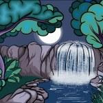 Cartoon-Stil-Wasserfall im Wald bei Nacht — Stockvektor