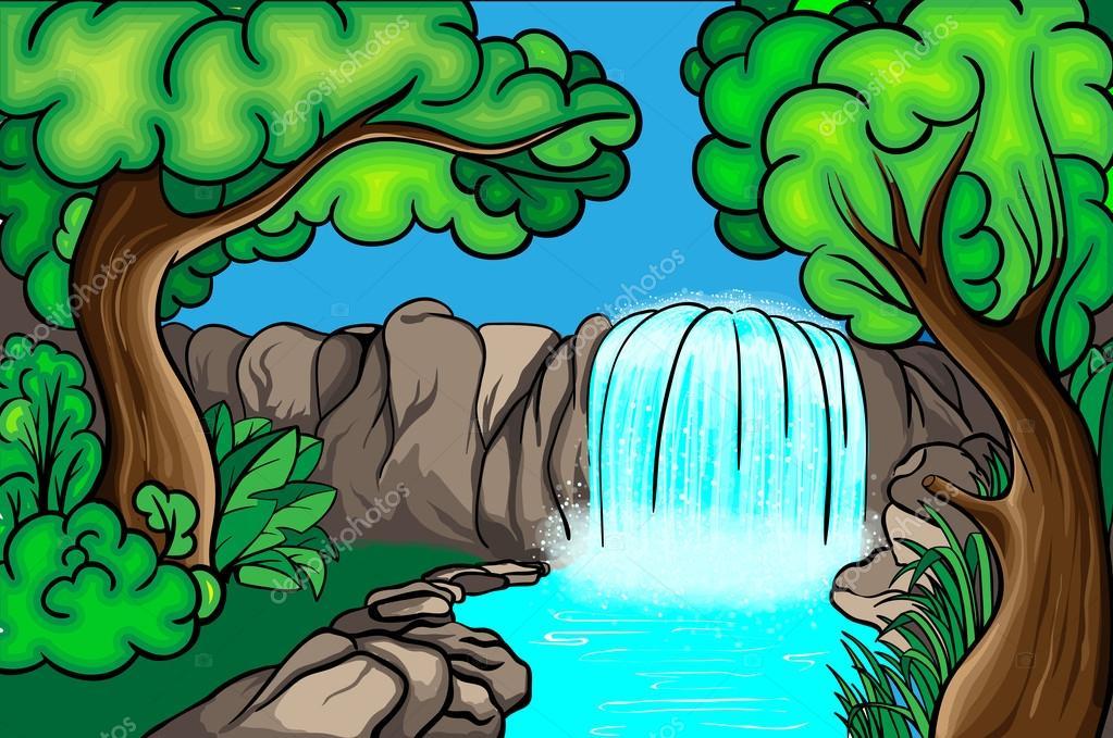 Cascata di stile cartone animato nella foresta