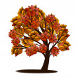 Autumn tree with red and yellow leaves - Stock Vector