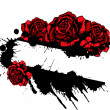Red roses and splatter design template - Stockvektor