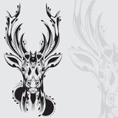 Tribal deer head tattoo — Stock Vector