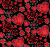 Modèle sans couture coeurs et roses — Vecteur