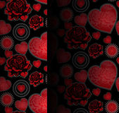 Hearts and roses seamless pattern — Stock Vector
