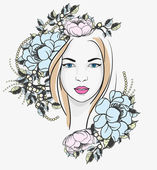 Young woman portrait with flowers — Stock Vector