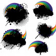 Stock Vector: Grunge splatters and rainbows set