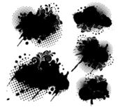Grunge splatters and dots set — Stock Vector