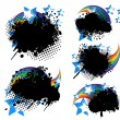 Grunge splatters, rainbows and stars set — Stock Vector