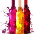 Group of wine bottles vith grunge splashes. Red, rose and white. — Stock Vector #29322423