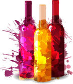 Group of wine bottles vith grunge splashes. Red, rose and white. — Stock Vector