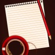 Red cup of coffee, blank note paper and pencil — Stock Vector