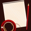 Red cup of coffee, blank note paper and pencil — Vector de stock