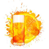 Orange slice and glass of orange juice made of colorful splashes on white background — 图库矢量图片