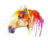 Horse head watercolor painting — Stock Vector