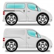 Cartoon minibus and delivery van with big wheels — Stockvectorbeeld