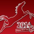 Jumping horse. Happy new year. — Stock Vector