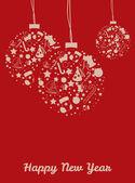 新的一年球明信片 — 图库矢量图片