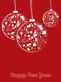 Postal de año nuevo las bolas — Vector de stock