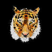 Tiger head made of colorful splashes — Stock Vector