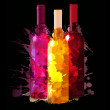 Group of wine bottles with grunge splashes. Red, rose and white. — Stock Vector #32765229
