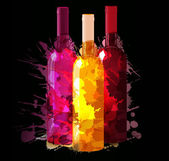 Group of wine bottles with grunge splashes. Red, rose and white. — Stock Vector