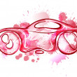 Stock Vector: Watercolor concept car. Own design.